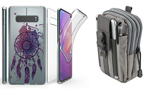 Beyond Cell Tri Max Series Compatible with Samsung Galaxy S10 with Slim Full Body Self Healing Screen Protector Case (Purple Dreamcatcher), Travel Pouch (Gray) and Atom Cloth from Bemz Depot