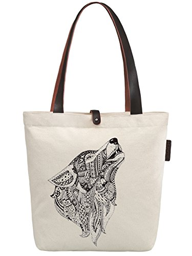 So'each Women's Wolf Animal Geometry Print Canvas Handbag Tote Shoulder Bag