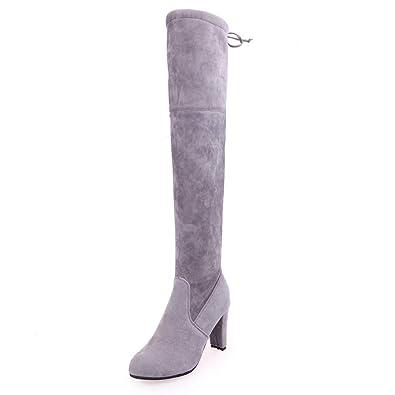 uirend Scarpe Stivali Donna Aderenti Alti Stivali sopra al GIinocchio da Feste Tacco Medio a Blocco Misura