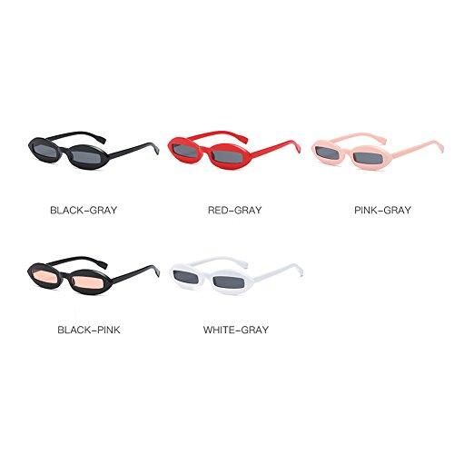 Shapes Concave de Pink de HLMMM Gafas Trend Black powder Black White América Vintage Mujer y Gafas sol sol Europa Color Rojo O57xwz5qZ