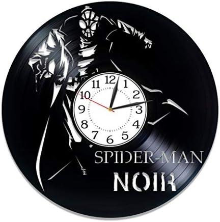Kovides Spider-Man Noir Vinyl Record Wall Clock Marvel Comics Handmade Clock Superhero Film Birthday Gift