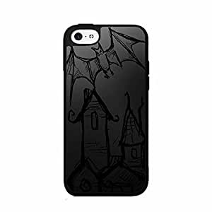 Haunted House Animated Bats Plastic Phone Case Back Cover iPhone 5 5s includes diy case Cloth and Warranty Label