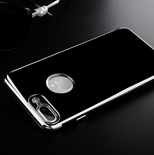 64c7e0d193 iPhone6S Plus Soft Black TPU Case, Shiny Plated Bumper Transparent Thin  Soft Awesome Cover,