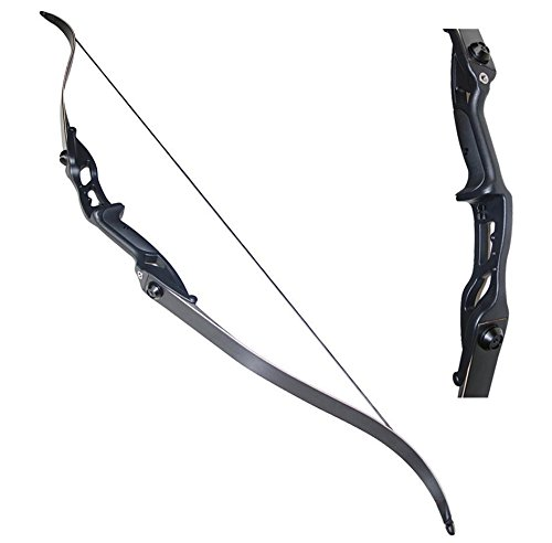 "TOPARCHERY Archery 56"" Takedown Hunting 50lbs Recurve Bow Metal Riser Right Hand Black Longbow"