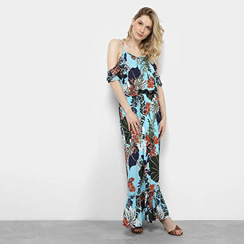 Vestido Longo Open Shoulder Lemise Estampado Floral Feminino - Azul Claro - P