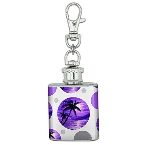 Stainless Steel 1oz Mini Flask Key Chain - Beach Tropical Sunset Purple Palm Tree Hawaii Paradise