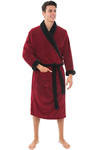 Alexander Del Rosas Mens Plush Warm Fleece Robe, 1XL 2XL Burgundy with Black Contrast (A0114BRB2X) -