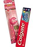 Hello Kitty Toothbrush, Protective Toothbrush Cap, and Kid's Colgate Toothpaste (''Sparkle Fun'' Flavor) Bundle of 3 Items