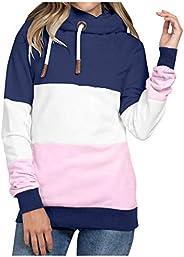 Sinifer Women Cowl Neck Hoodie Color Block Tops Long Sleeves Sweatshirt Pullover