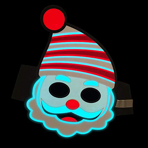 Cocal Exquisite Christmas Style Led Sound Reactive LED Mask, Lightweight Adjustable Voice-Activated Music Light Up Mask Toy -
