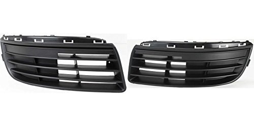 DAT 05-10 VOLKSWAGEN JETTA BLACK WITHOUT FOG LIGHT HOLES FRONT BUMPER COVER GRILLE GRILL SET OF TWO RIGHT PASSENGER LEFT DRIVER SIDE PAIR VW1036107 VW1036108 (10 Oe Bumper Grille)