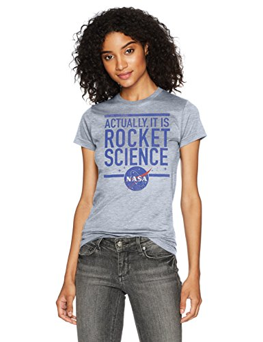 NASA Junior's Actually It Is Rocket Science Graphic Crew Tee, Athletic Heather, XX-Large
