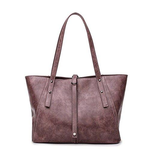 Amoyie – Moda borse a mano in pelle, Eleganti borse tote donna, borsa shopping borsa da lavoro borse a tracolla Marrone Viola