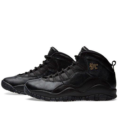 Nike Air Jordan Retro 10, Zapatillas de Baloncesto para Hombre black/black-drk grey-mtllc gld