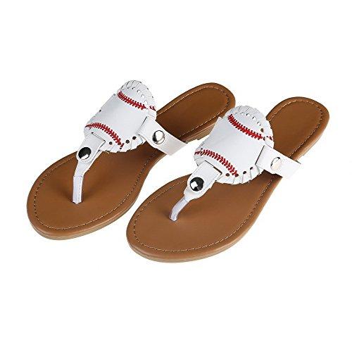 X.Sem Sports Baseball Softball Flip Flops Flat Stitch Beach Sandals Full Size (Baseball, 7 B(M) US)