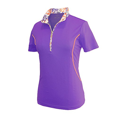 Monterey Club Ladies Dry Swing Daisy Stamp Contrast Shirt #2359 (Royal Lilac/Peach Pink, 2X-Large) (Stamp Tee Print)