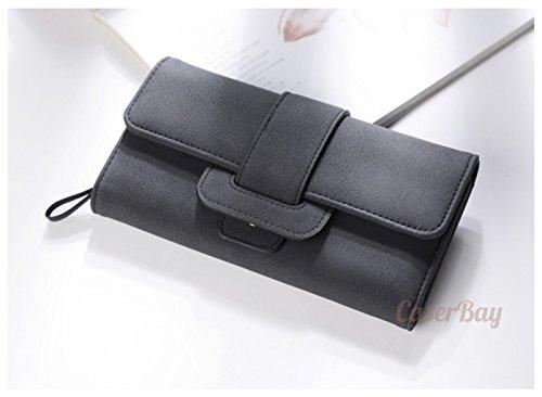 Women Retro Long Leather Wallet Black Pink - 4