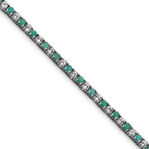 925 Sterling Silver Green Emerald White Topaz Tennis Bracelet 7 Inch Gemstone Add-a- Fine Jewelry Gifts For Women For Her (Tennis Bracelet Pear)
