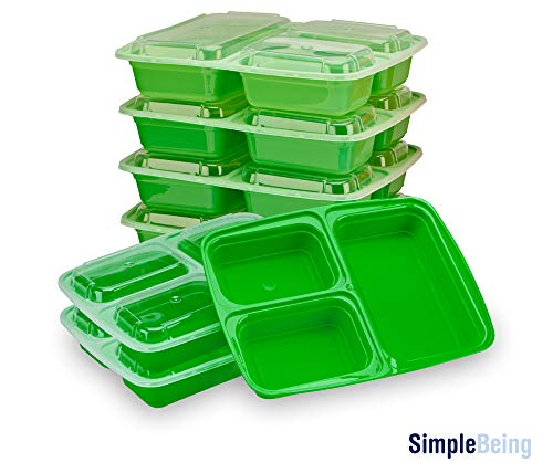 7 Day Meal (Simply Life New [7 Pack] 3 Compartment Meal Prep Containers (Green))