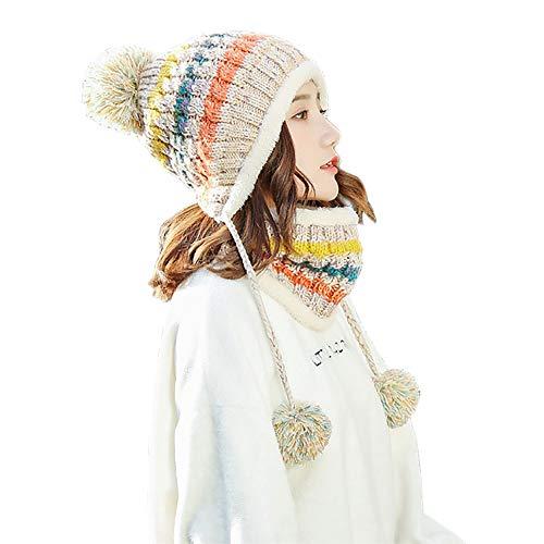 SCOWAY Womens Girls Knit Pom Pom Beanie Scarf Set Soft Warm Fleece Lined Winter Ski Hat with Earflap and Braids (Beige)
