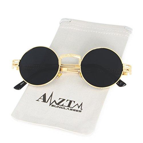 Redondo Sol Marco Marco Gris Vendimia Lente de Metal AMZTM Steampunk de Gafas Gafas Dorado de cypP0I6qvW
