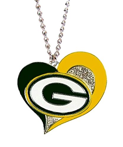 Aminco NFL Swirl Heart Necklace Green Bay (Green Bay Packers Jewelry)