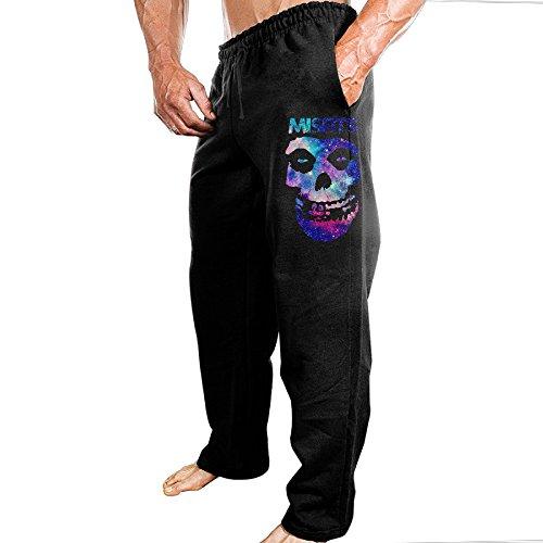 TONGY Men's MISFITS FIEND SKULL Horror Punk Band Soft Travel Funny Sweatpants Leisure Wear Size XL