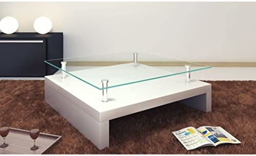 Amazoncom Festnight 2 Tier High Gloss Coffee Table With Tempered