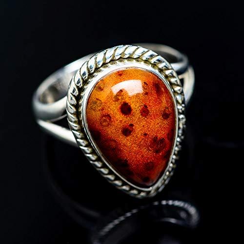 Palm Wood Jasper Ring Size 7.75 (925 Sterling Silver) - Handmade Boho Vintage Jewelry RING942923