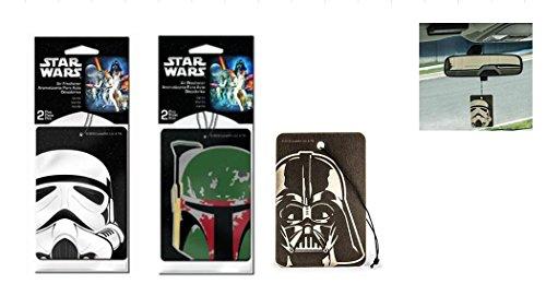 Star Wars 2 Packs Car Hanging Paper Air Freshener Bundle - 3 Items: Storm Trooper, Darth Vader and Boba Fett ( 2 Each, Total of 6 Pcs)