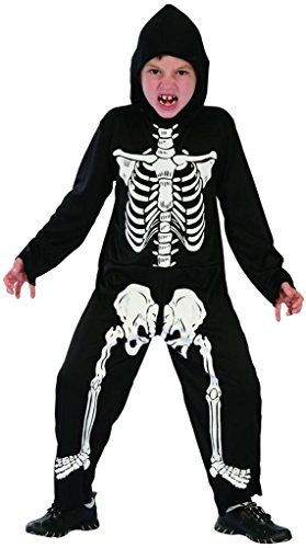 YOU LOOK UGLY TODAY Boy's Realistic Skeleton Halloween Dress-up Costume, Quality Fabric, Washable & Durable-Small