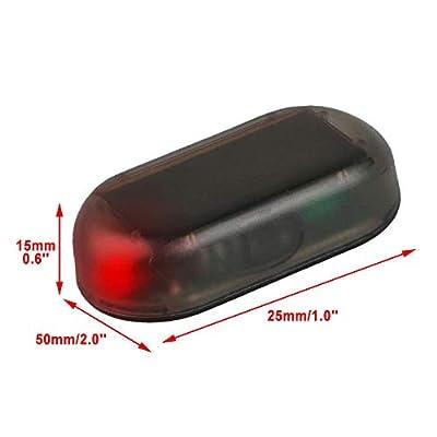 G·PE House 2pcs Car Solar Power Simulated Dummy Alarm Warning Anti-Theft USB Charger LED Flashing Security Light Fake Lamp (Blue + Red): Automotive