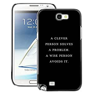 A-type Arte & diseño plástico duro Fundas Cover Cubre Hard Case Cover para Samsung Note 2 N7100 (Clever Wise Smart Deep Quote Black)
