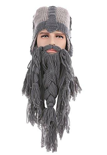 Kafeimali Men's Barbarian Warrior Knit Beard Hat Original Beanie Halloween Caps -