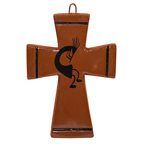 Kokopelli Red Black 4 x 3 Inch Handcrafted Pottery Wall Hanging Cross