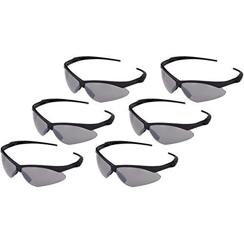 AmazonBasics Anti-Scratch Safety Glasses Eye Protection, UV-Resistant, Smoke Mirror Lens, 6-Count