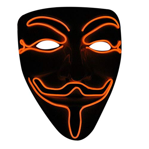 Nuoka Halloween Cosplay Masquerades LED Mask V for Vendetta Mask (Orange)]()