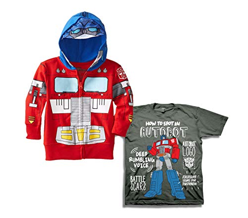 Transformers Boys Hoodie Tee Set - 2 Pack of Transformers Hoodie and Tee - Optimus Prime and Bumblebee (Red/Charcoal, 4T)