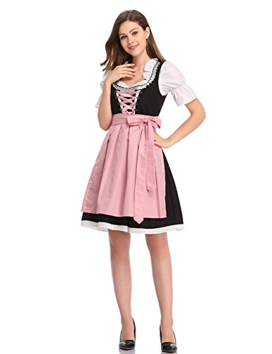 Clearlove Limited Traditional Dirndl Women Dresses Blouse Apron (Pink, XL) -