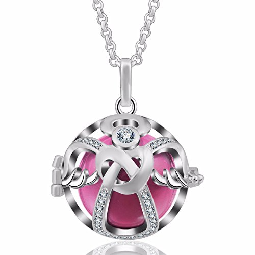 (EUDORA Angel Chime Caller Necklace 18mm Heart & Lock Serenity Prayer Musical Bell Pendant 35