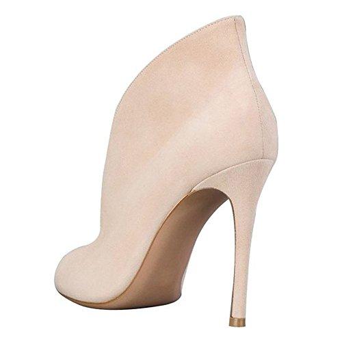 MERUMOTE - Zapatos de vestir para mujer Beige-Faux Suede