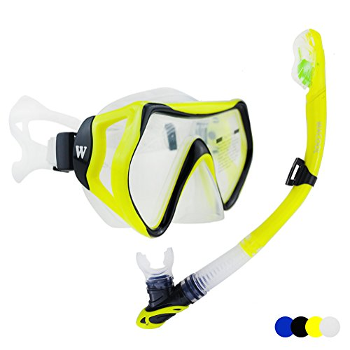 WACOOL Snorkeling Package Set for Adults, Anti-Fog Coated Glass Diving Mask, Snorkel with Silicon Mouth Piece,Purge Valve and Anti-Splash Guard.(Yellow-Black) (Dive Mask Purge Valve)