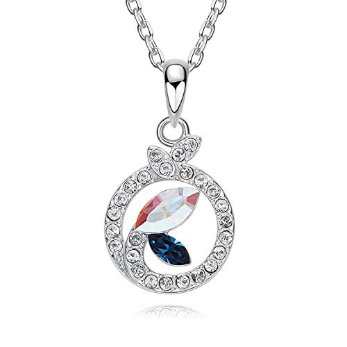 (AMDXD 925 Silver Necklace Round Shape Pendant Women Silver Chain Blue Cubic Zirconia)