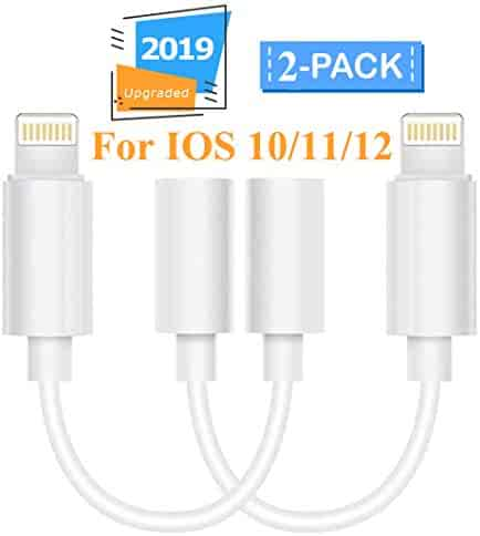 Lighting to 3.5 mm Headphone Adapter Earbuds Earphone Adapter 2 Pack, Compatible with X/XS/Max/XR 7/8/8Plus iOS 10/11/12 Plug and Play Marine GPS Chartplotters