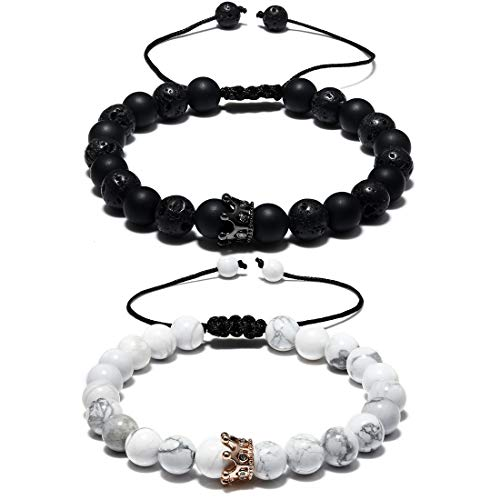 CAT EYE JEWELS Couple Distance Bracelet Adjustable Handmade Braided Rope Cubic Ziron Crown Queen Charm 8MM Natural White Howlite Black Matte Agate Diffuser Lava Rock Beads Yoga Bracelets H009 by CAT EYE JEWELS