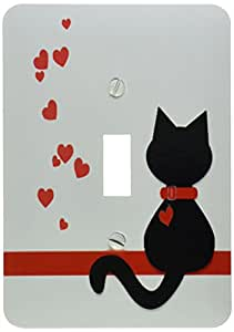 3dRose lsp_164791_1 Pet Lovers Red Hearts Black Kitty Cat Light Switch Cover