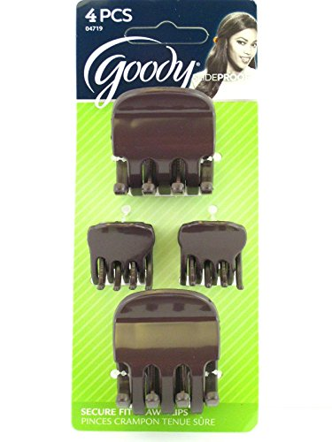 Goody Slideproof Variety Claw Hair Clips - Brown - 4 Pcs.