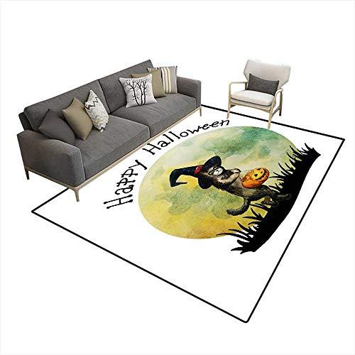 (Kids Carpet Playmat Rug Halloween carHappy cat wi Witch hat anpumpkin Handrawn Watercolor Illustration 5'x8' (W150cm x)