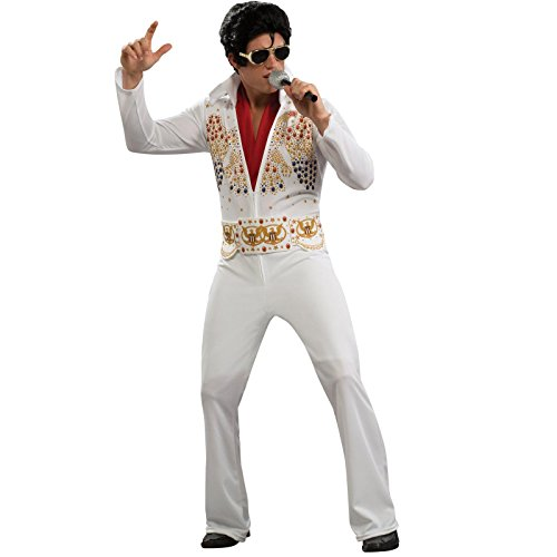 Male Rockstar Costume Ideas (Aloha Elvis Adult Costume,White,Medium)