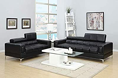 Poundex Bobkona Sierra Bonded Leather 2 Piece Sofa and Loveseat Set